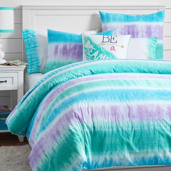 Reef Blue and Purple Tie-Dye Duvet Cover and Sham