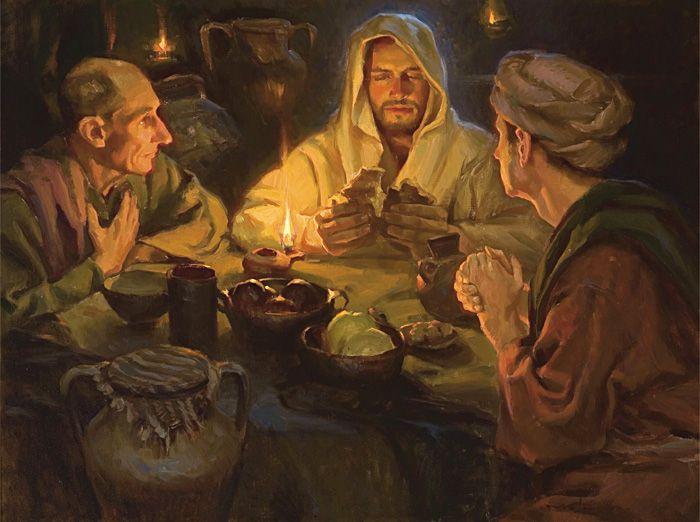 Jesus breaking bread at Emmaus