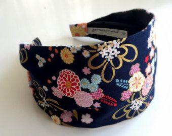 Authentische japanische Stoff Stirnband für Frauen und Mädchen Marine blaue Blume Schimmer gold Akzent Band jerseymaid