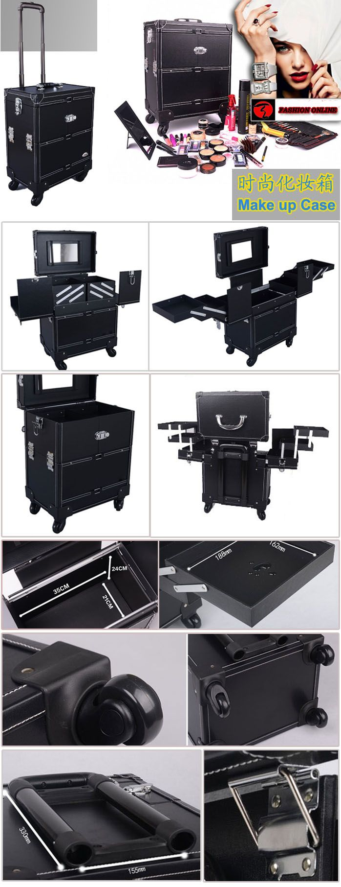 It is essential to have such a large capacity makeup case TXMC-002 to a professional dresser.