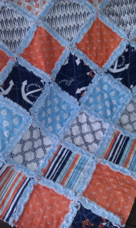Baby Rag Quilt Boy Anchors Away Nautical  Plush by flutterflybaby, $60.00