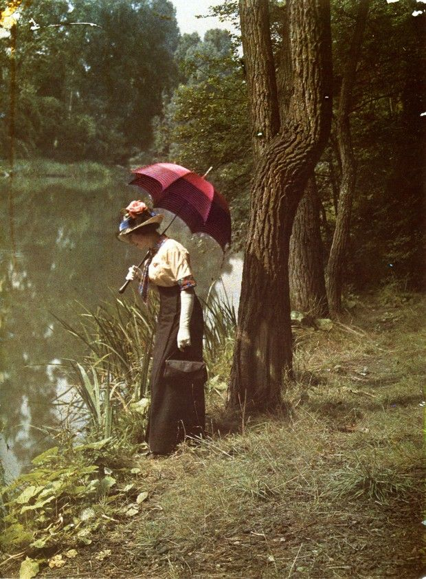 Woman by pond, ca. 1906. Autochrome (early color photograph) by the Lumiere brothers.