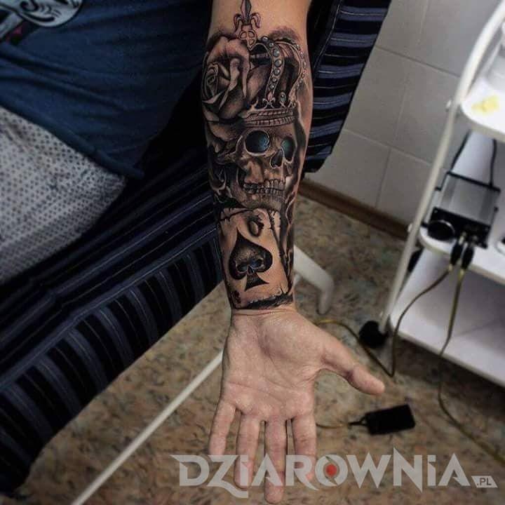 Tatuaże 3D, czaszki, kwiaty, realistyczne, dla mężczyzn, na przedramieniu: tatuaż Tatuaż na łydkę