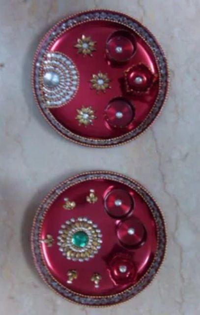 17 best images about diwali decorations on pinterest for Aarti thali decoration with kundan