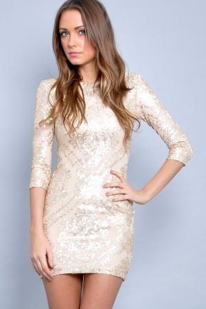 Long Sleeve Short Sequin Dress | Dress: short evening gold, baroque, sequin long sleeve baroque ... by polly