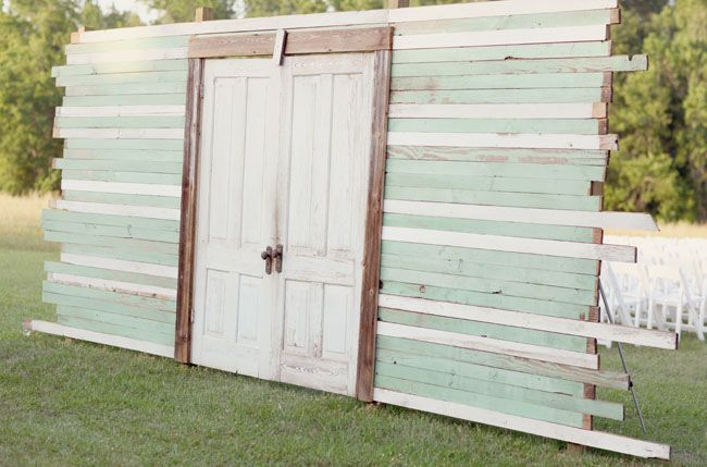 "Love the idea of building a ""church door"" for an outside ceremony!"