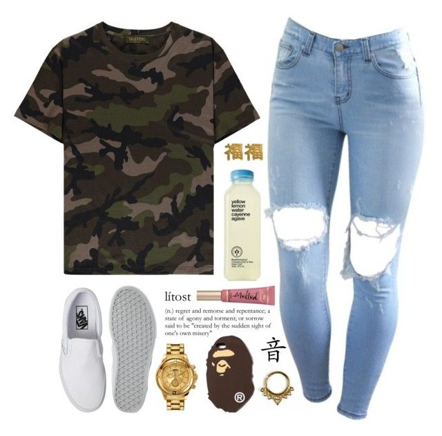 """""""i really want to see j. cole in concert """" by love-rebelwolf ❤ liked on Polyvore featuring Valentino, Vans, yuki nagao, Versus and A BATHING APE"""