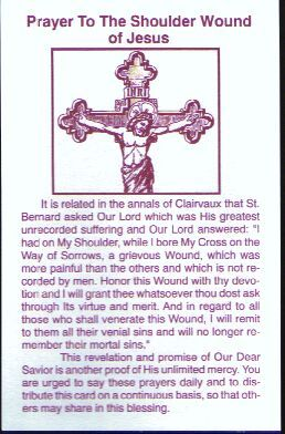 Front of The Prayer to the Shoulder Wound of Jesus (from the Pieta Book of Prayers!!)