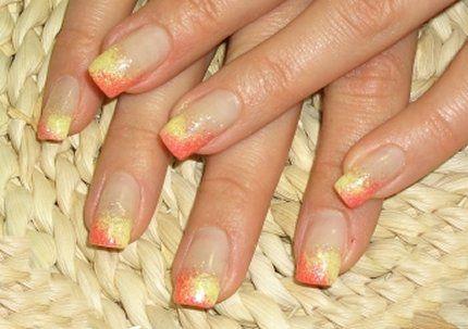 Fresh orange yellow long french manicure