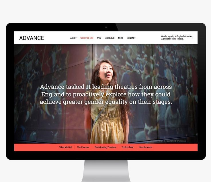 Advance is a project by Tonic Theatre working with Englands leading theatres to transform their aspiration for gender equality into reality. Bullet were asked to create a website to promote the project and publish the initial findings. We kicked-off the project with a joint residency with Tonic at the National Theatre Studio. The site features infographics and a responsive design #webdesign #website #arts #theatre #genderequality