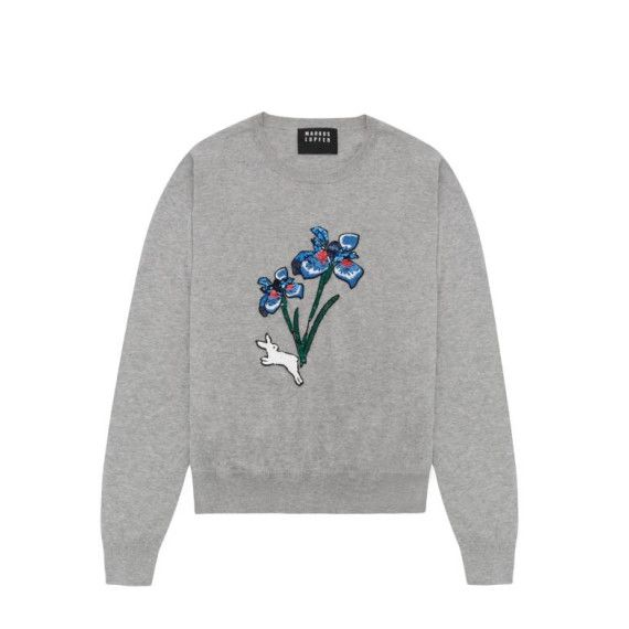Light Grey Sequin Flower And Jumping Bunny Grace Jumper