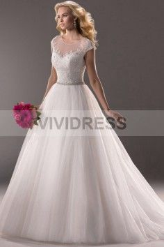 Sleeveless Scoop Chapel Train Cap Sleeve Lace Wedding Dresses with Sequin Style 15427108 http://www.vividress.co.uk/lace-wedding-dresses-style-15427108.html