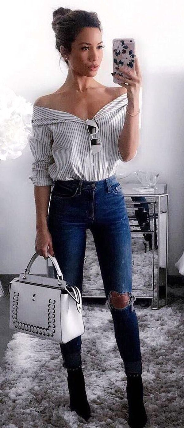 #fall #outfits women's white off shoulder top