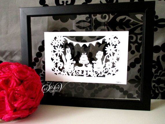 Bunny and Puppy Tea Party in Garden Paper Cut by StinaVStudio