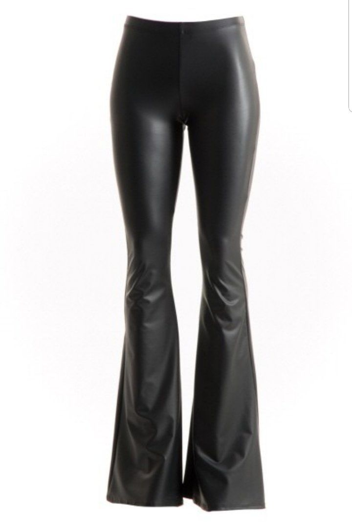 1860e12b9bf3f2 Black Faux Leather Bell Bottom Pants in 2019 | Fashion | Leather pants,  Bell bottom pants, Pants