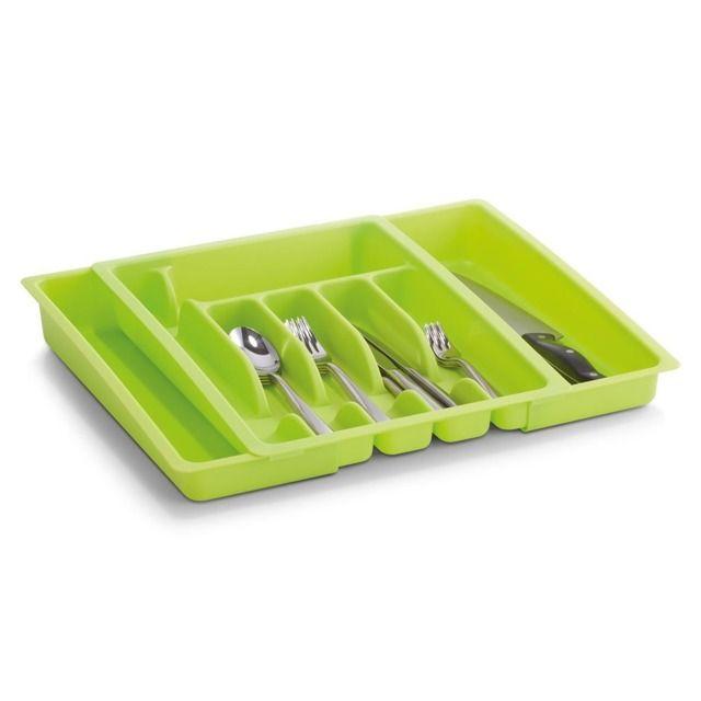 Rozsuwany pojemnik na sztućce, wkład do szuflady, ZELLER. Wkład do szuflady na sztućce z możliwością regulacji szerokości. W całości wykonany z tworzywa sztucznego w kolorze zielonym. Ilość przegródek od 6 - 8 pomoże utrzymać porządek i posegregować zawartość. Dzięki czemu jeszcze lepiej możesz zagospodarować miejsce w kuchennej szufladzie. Modny design z pewnością świetnie będzie się prezentował w każdej kuchni. :)  Zapraszamy na emako.pl