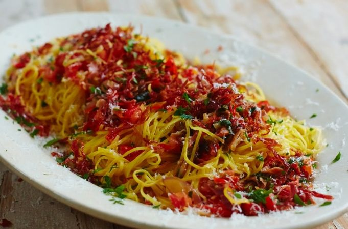 Prosciutto & Red Pepper Taglierini | Gennaro Contaldo