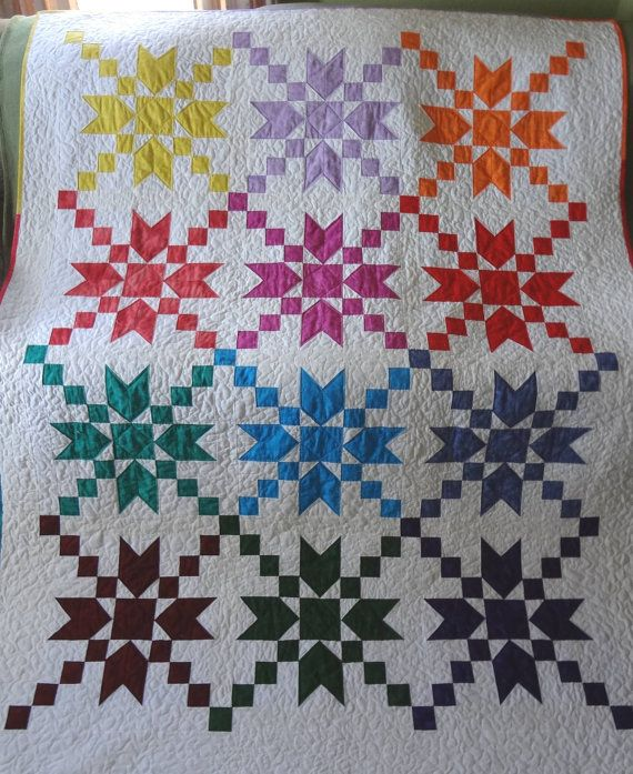 Homemade Quilt Moda Jeweltone Stepping Stones by QuiltcreationsUSA