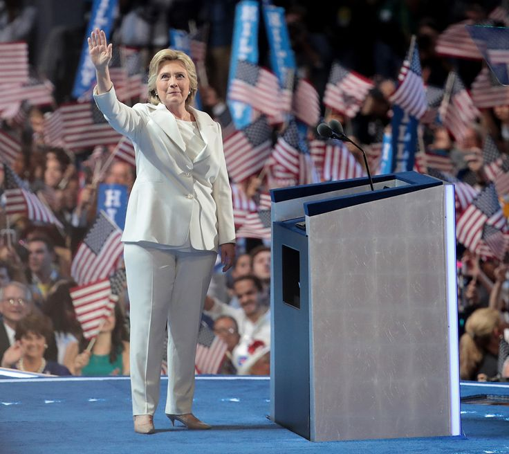 Hillary Clinton Becomes the Democratic Presidential Nominee in a Crisp All-White Pantsuit from InStyle.com