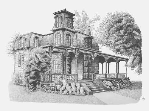 Victorian House Drawings Basic Drawing Pencil Art
