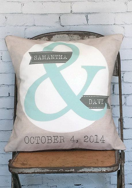 cotton anniversary gift wedding gift pillow cover personalized ampersand