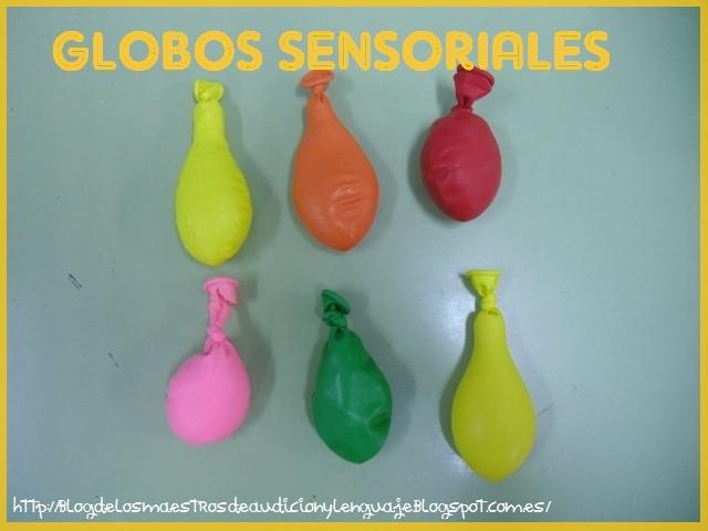 Globos sensoriales rellenos de arroz, harina, gel, macarrones, garbanzos, etc.