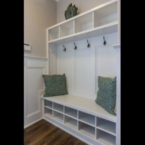 builtin entryway benches and coatracks | ... Built-in Hall tree with hooks