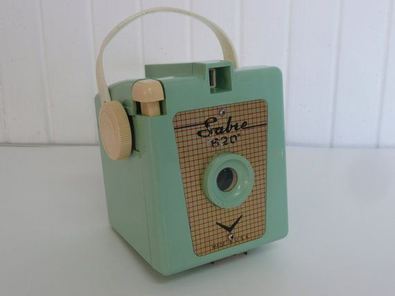 1950s MINT GREEN Sabre 620 Bakelite Box by NewLifeVintageRVs. This was my very first camera. My grandmother brought it back with her after a train trip back to visit her mother in Saskatchewan, 1958.