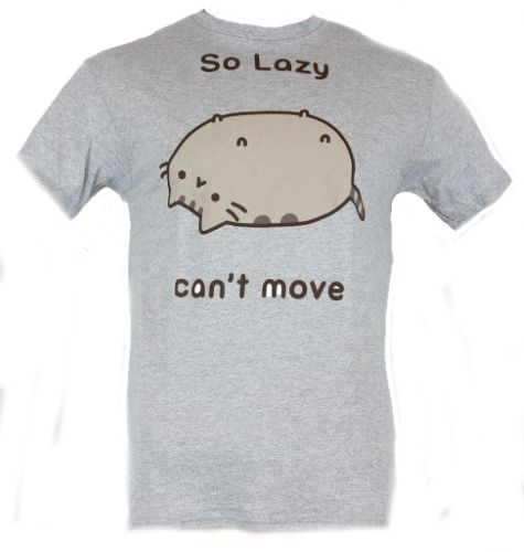 Pusheen Mens T-Shirt - 'So Lazy Can't Move' Pusheen on His Back - X-Small / grey, Men's, Size: 2X-Small