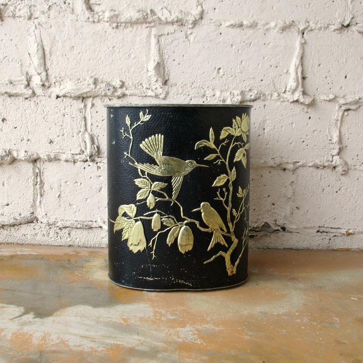 Vintage Trash Can, Mid Century Retro Black and Gold Embossed Oval Garbage Can, Office Accessory, Birds Wastebasket by Weibro Corp Chicago by viAnneli on Etsy