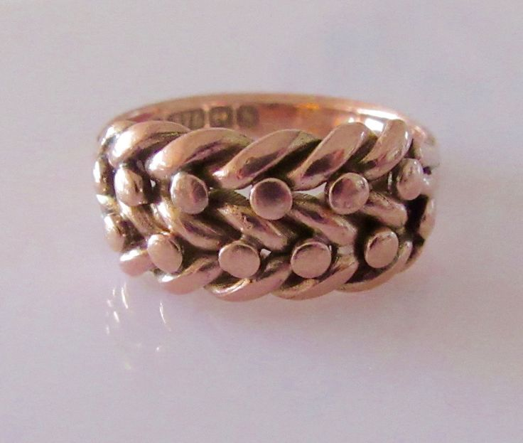 9ct Rose Gold Keepers Ring Size Q or 8 by Britishgoldandsilver on Etsy
