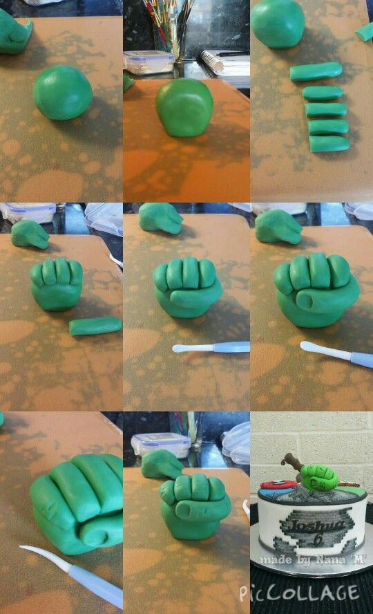 Hulk hand, made with fondant & tylo powder also cocktail stick for support :-) For all your cake decorating supplies, please visit craftcompany.co.uk