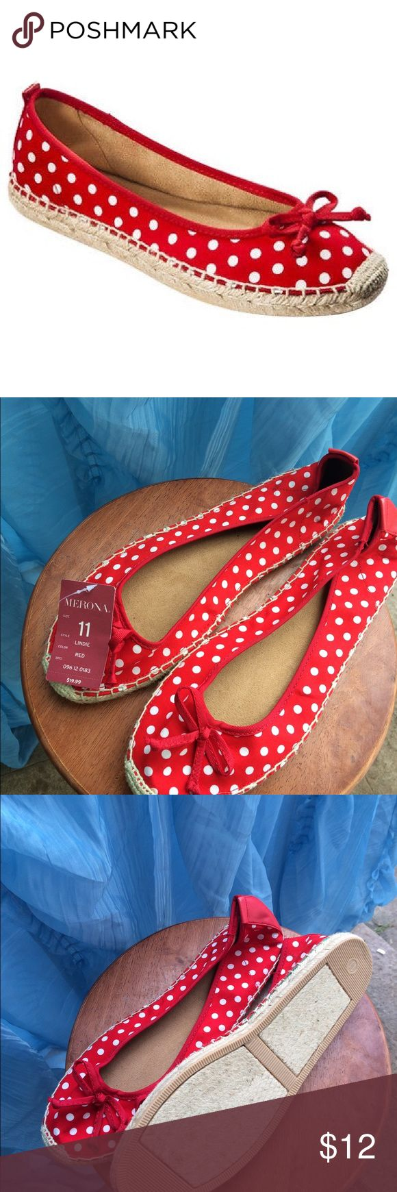 (NEW) Merona Lindie Espadrille Shoe Red and white polka dot Lindie Espadrille shoes. (No box) Merona Shoes Espadrilles