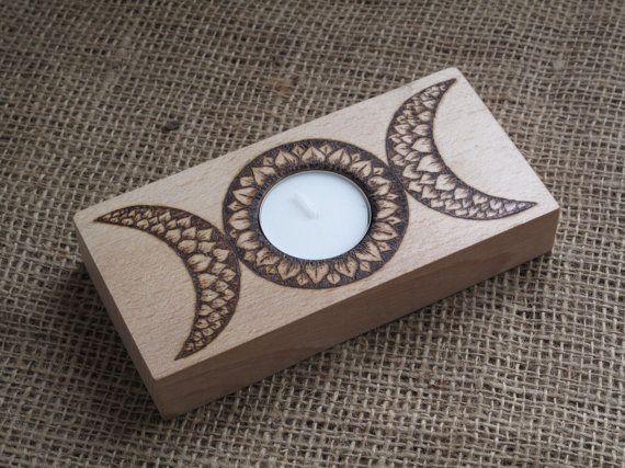 Triple Moon T-Light Holder. Incense Holder. Mandala, Pentacle, Pentagram, Pagan, Witchcraft, Altar, Paganfolk, Handcrafted, Hedgewitch