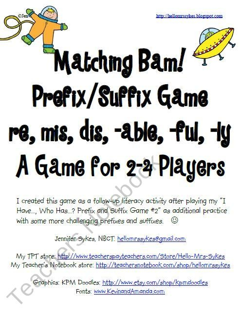 Prefix and Suffix BAM! Game #2 Common prefixes suffixes product from