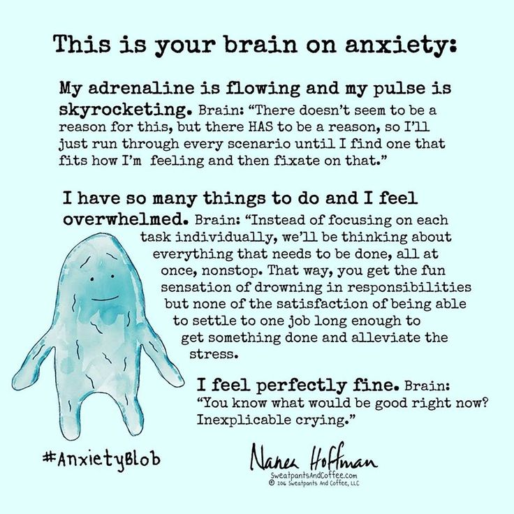 Your brain on anxiety. Maybe I've had anxiety to long... when I feel it starting, I know it's anxiety & for the most part I understand what/why it's happening & I simply try to focus on my breathing.... I can even do this while having a conversation with others.... I start thanking slow deliberate breaths & slowly exhaling.... to calm myself down....