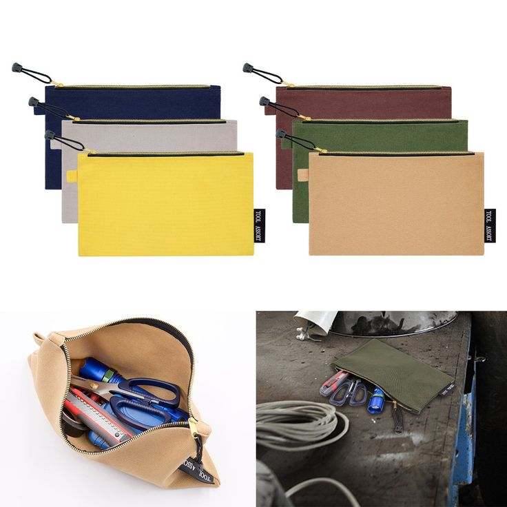 6 Pack Canvas Tool Bags Heavy Duty No.20 Canvas Multipurpose Tool Pouch with Dependable Metal Zippers- Multi Purpose Durable Storage and Organizer Bag for Tool Assort