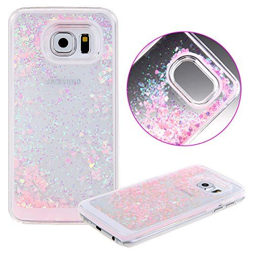 UZZO 3D Creative Design Hard Shell Liquid Glitter Samsung Galaxy S6 Case, Pink Hearts