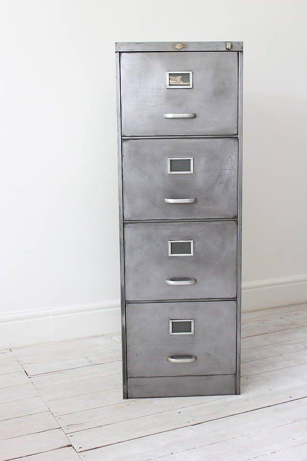 Industrial style filing cabinet for fabric storage