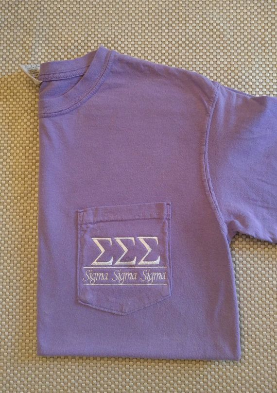 Comfort Color T Shirts are the best quality and most popular of T-Shirts. These are unisex and fit larger than womens sizes.  Sizes available - Small to XL  This listing is for Sigma Sigma Sigma sorority. Any Greek letters can be embroidered. ***Pocket is sewn shut and will be unusable***  SHIPPING:  *** Please note the processing time for your item. This item normally takes 7-14 days to complete and ship. I will do my best to ship within 7 days, but reserve 14 days in the event there are…