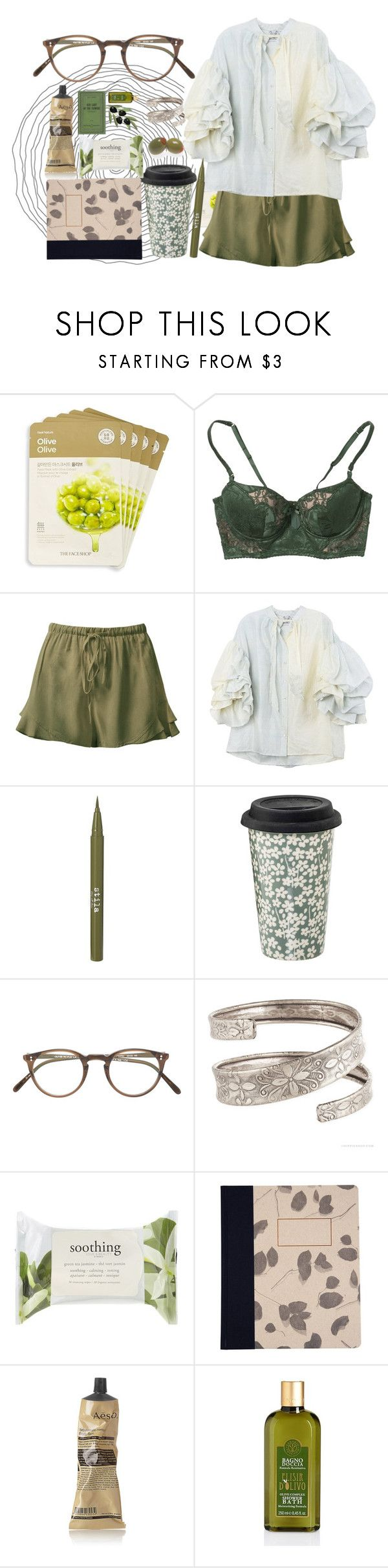 """""""Bez tytułu #534"""" by cute-but-psycho-123 ❤ liked on Polyvore featuring The Face Shop, Elle Macpherson Intimates, Sans Souci, Rayne, Stila, Oliver Peoples, Forever 21, Susan Castillo and Aesop"""