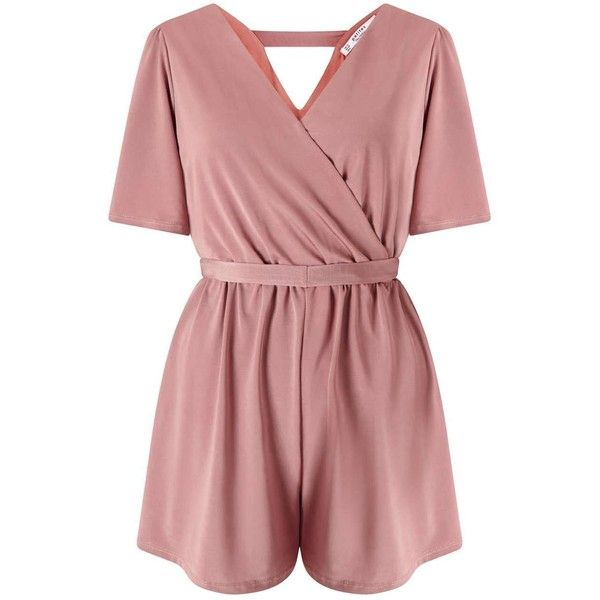 Miss Selfridge PETITE Slinky Wrap Playsuit ($68) ❤ liked on Polyvore featuring jumpsuits, rompers, mink, petite, red rompers, playsuit romper, wrap romper, miss selfridge and red romper