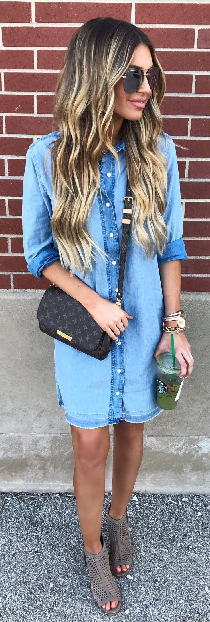 #summer #outfits  Denim Shirt Dress + Grey Open Toe Booties // Shop This Outfit In The Link