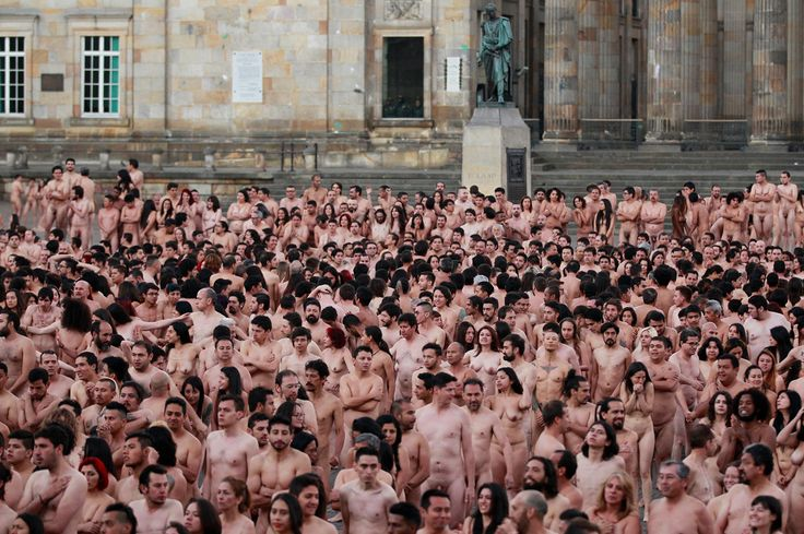 Naked volunteers pose for the U.S. artist Spencer Tunick at Bolivar Square in Bogota, Colombia. (John Vizcaino / Reuters)