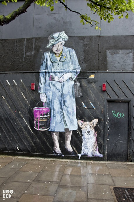 t looks like Mr. Brainwash's hype machine just picked up pace in London with him and/ or his team installing some of his large-scale paste-ups in the city, showing e.g. The Beatles and The Queen…