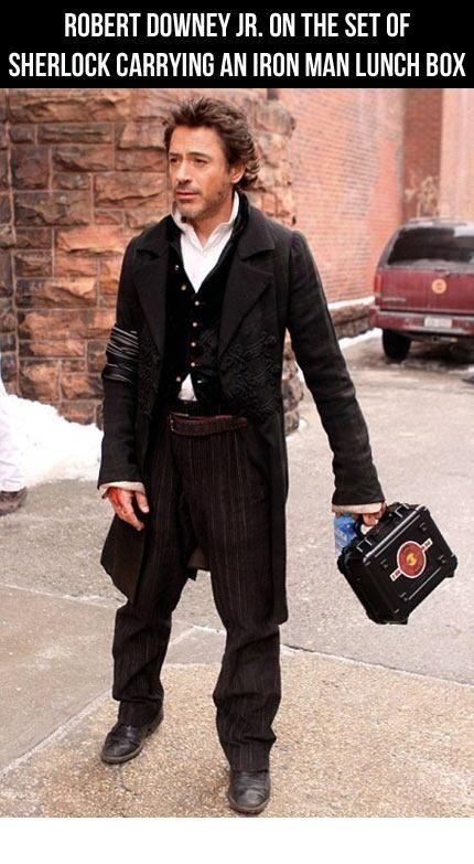 Robert Downey Jr with Iron Man lunchbox.
