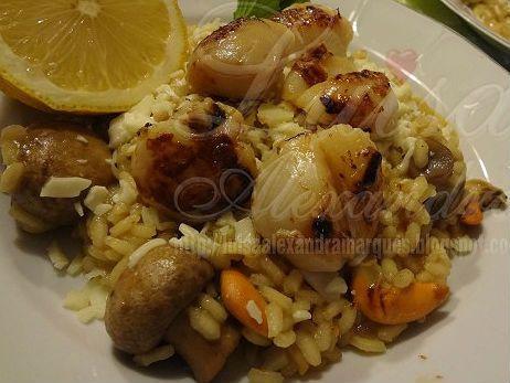 Receita de Vieiras grelhadas com Risotto de Cogumelos Frescos .:. Kitchenet .:. Livro de culinária do aeiou