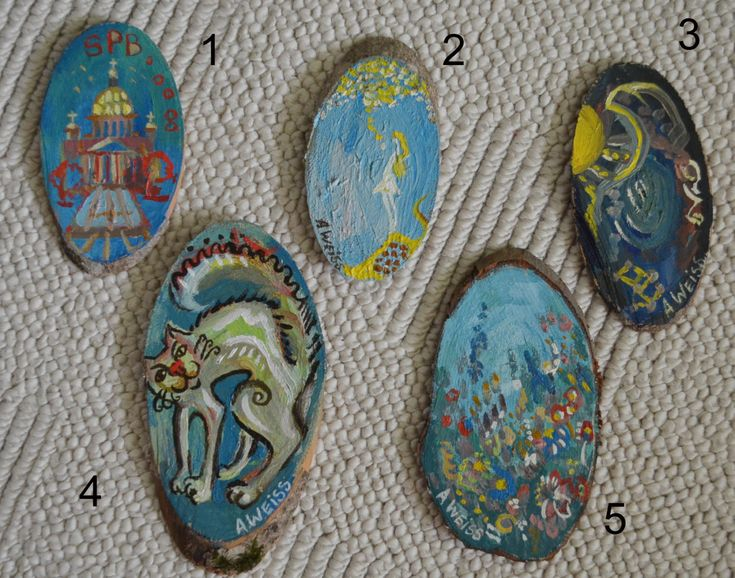 Oil on Wood slice Painting, Hand Painted Original Painting, Mother Gift, Souvenir, With Love, Magnets, Psyhedelic Fine Art, Cat, Miniature by AnnaWeissArt on Etsy