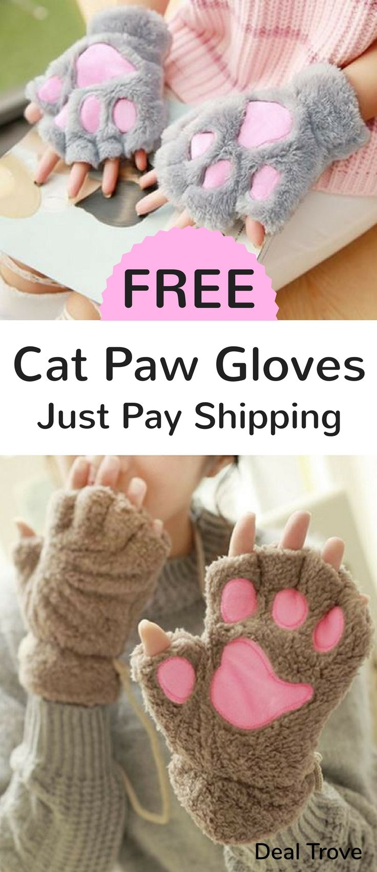 Get These Free Cat Paw Gloves And Keep Your Hands Warm In An Adorable Way All You Have To Do Is Pay Shipping Comes In 6 Differe Paw Gloves Free Cats