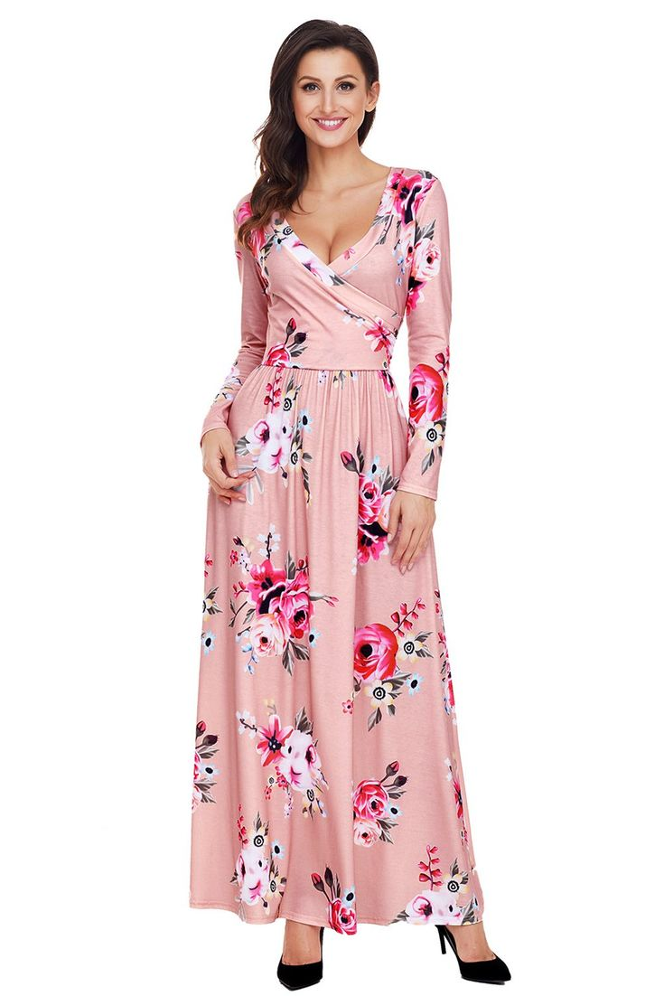 Pink Floral Surplice Long Sleeve Maxi Boho Dress modeshe.com